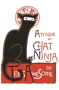 A French Ninja Cat!: Threadless Throw Pillow
