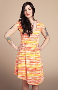 Sunset Stripes: Girly Fit and Flare Dress, Select Girly + Threadless Collection