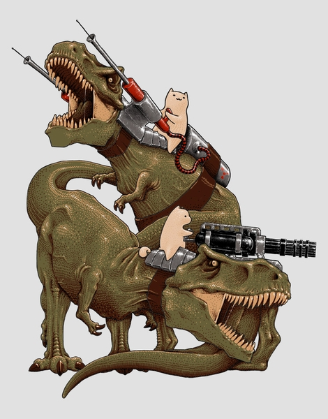 Cats Riding T-Rexs! Hero Shot