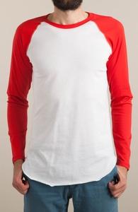 White / Red Long Sleeve Baseball Tee Hero Shot