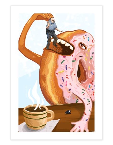 A Donut Eating Cop Hero Shot