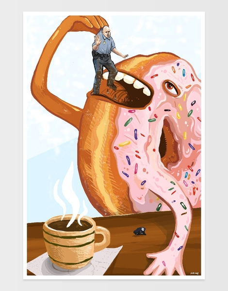 A Donut Eating Cop Hero Shot