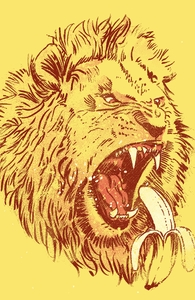 Banana Eating Lion Hero Shot