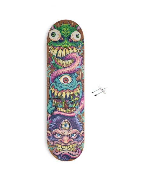 Monster Faces Skateboard Design Hero Shot