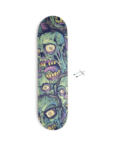 Zombie Pattern Skateboard Design Hero Shot