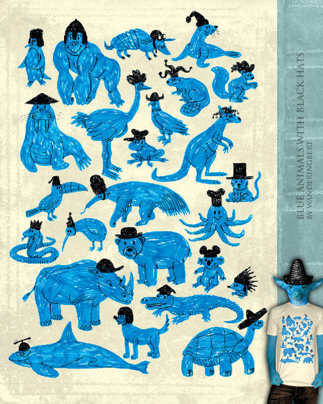 Blue Animals with Black Hats