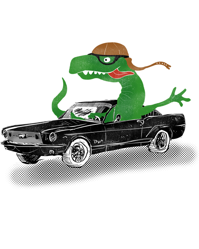 Dinosaur Driving A Car