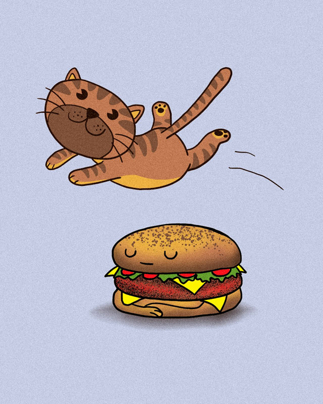 The quick brown cat jumps over the lazy burger