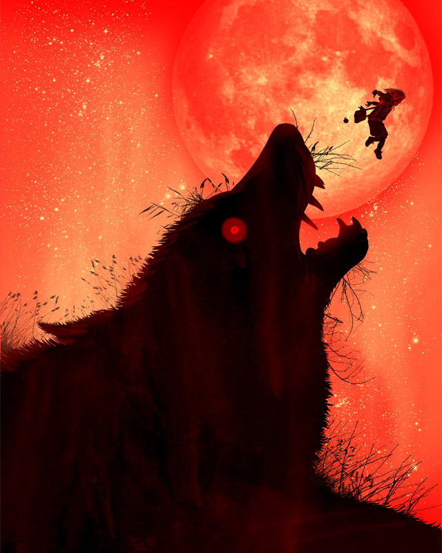 TheLittle Red Riding Hood Jumps Over The Big Wolf