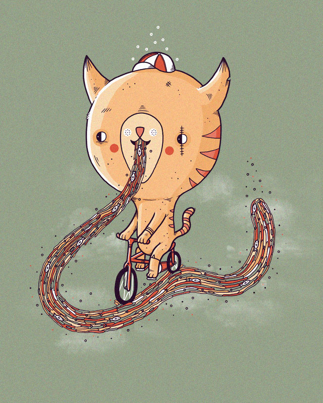 A cat riding a bike along a trail of it's own sick